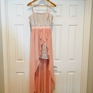 Silver sequins and pink Asymmetric dress.